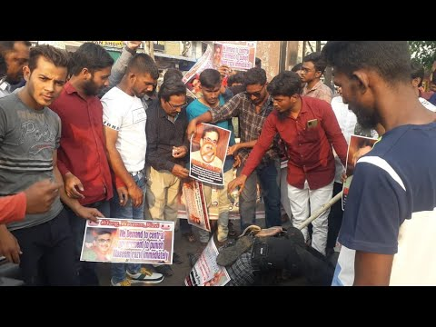 CPI Leaders Protest & Burn Effigy of Waseem Rizvi in Amberpet, Hyderabad