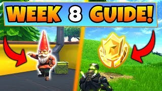 Fortnite WEEK 8 CHALLENGES GUIDE! – HUNGRY GNOMES LOCATIONS, Treasure MAP (Battle Royale Season 4)