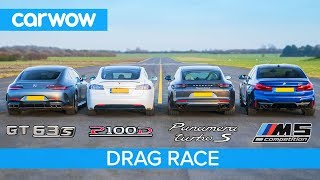 Tesla Model S v AMG GT 4 v BMW M5 v Porsche Panamera Turbo S - DRAG RACE, ROLLING RACE & BRAKE TEST