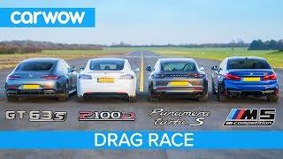 Tesla Model S v AMG GT 4 v BMW M5 v Porsche Panamera Turbo S - DRAG RACE, ROLLING RACE & BRAKE TEST