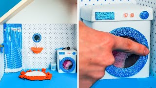 MINIATURE BATHROOM MAKING BY YOURSELF || Amazing Doll DIYs For The Whole Family
