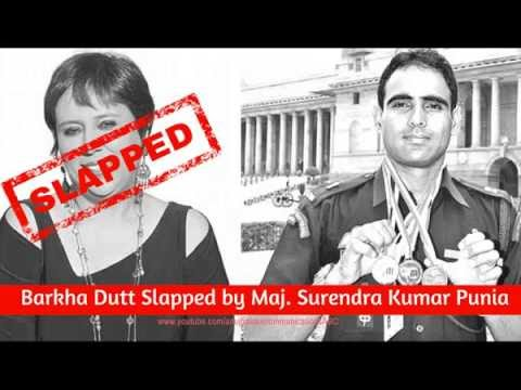 Barkha Dutt Slapped and Exposed by Maj Surendra Punia
