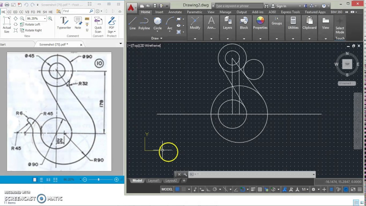 Autocad 2d video tutuorial of a hook youtube for Barhocker 2d dwg