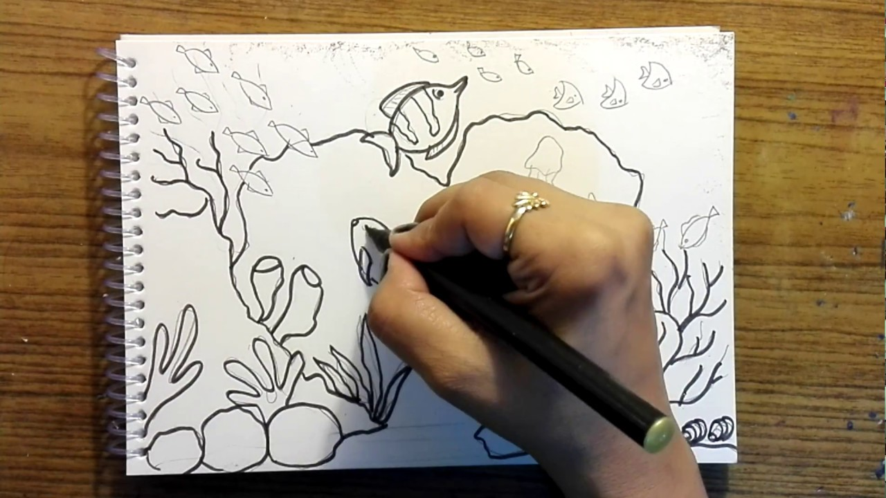 How to draw underwater world - Another easy tutorial for ...