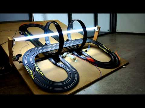 Slot Cars on an erect dick shaped circuit