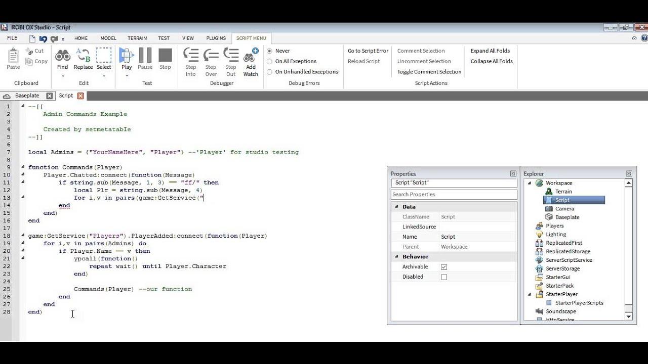 Roblox Lua: Admin Commands Tutorial