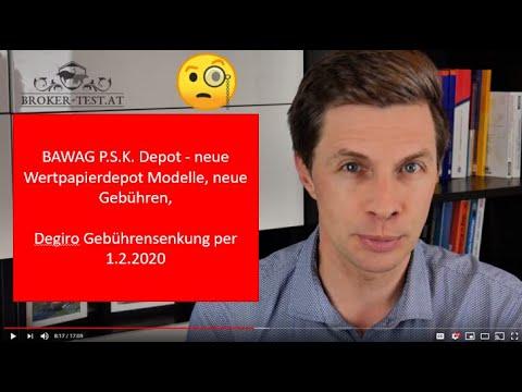 BAWAG P.S.K. Depot - neue Modelle, neue Gebühren, Degiro Gebührensenkung per 1.2.2020