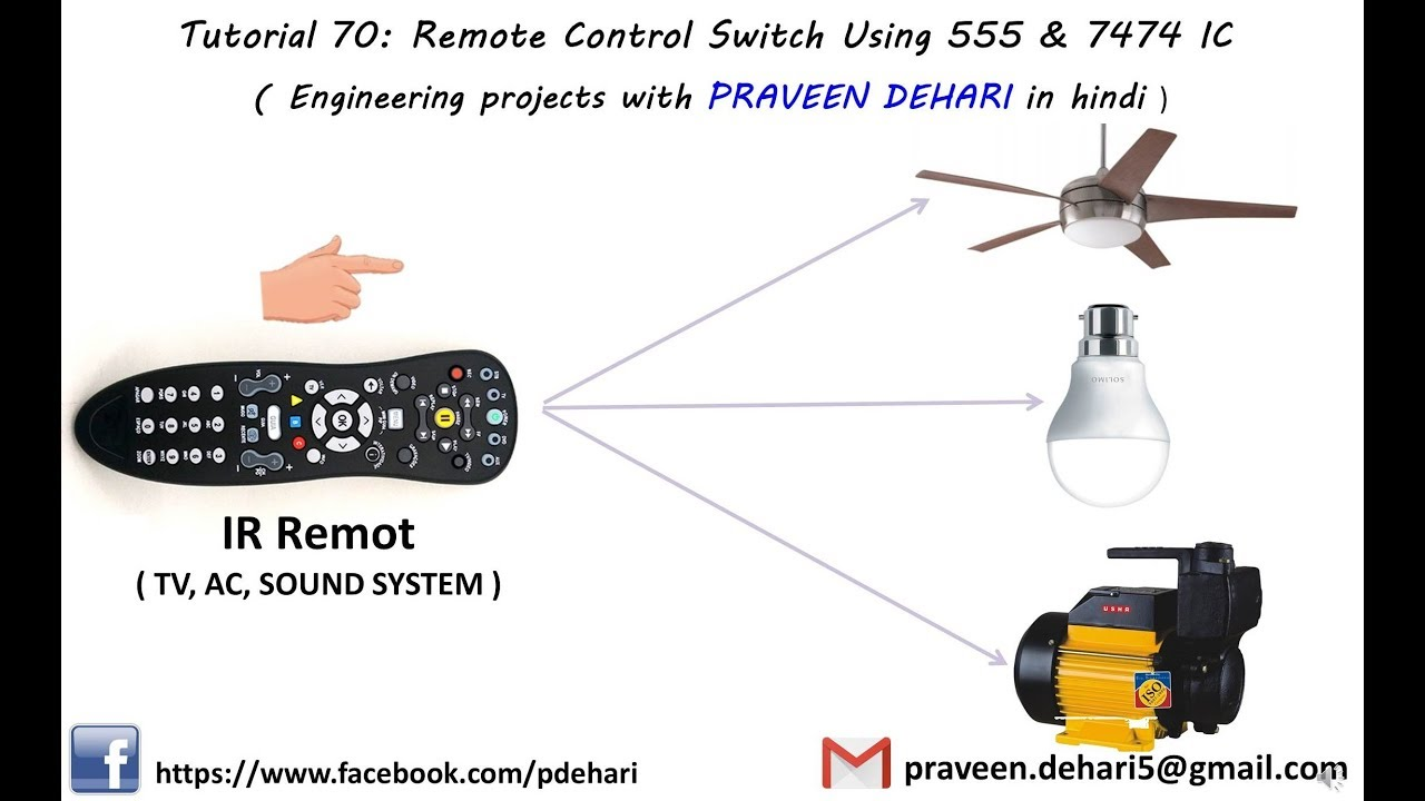 Remote Control Switch Using 555 7474 Ic In Hindi Tutorial 70 How To Make Mp3 Player At Home Led Chaser Timer Cd4017