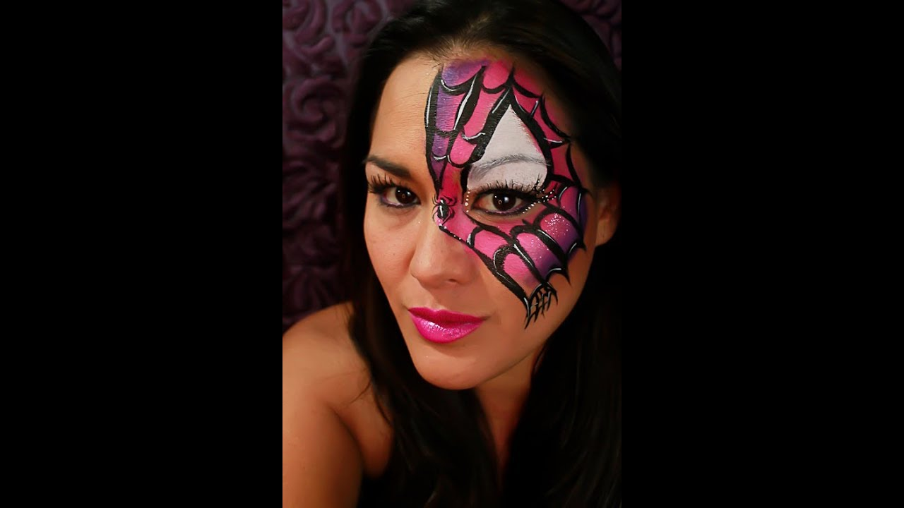 Quick Spider Girl Mask Face Paint Tutorial YouTube