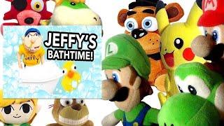 SML Short: Jeffy's Bathtime! Mario And Luigi Reaction (Freddy,Foxy,Pikachu,BowserJr,Springtrap,Link)