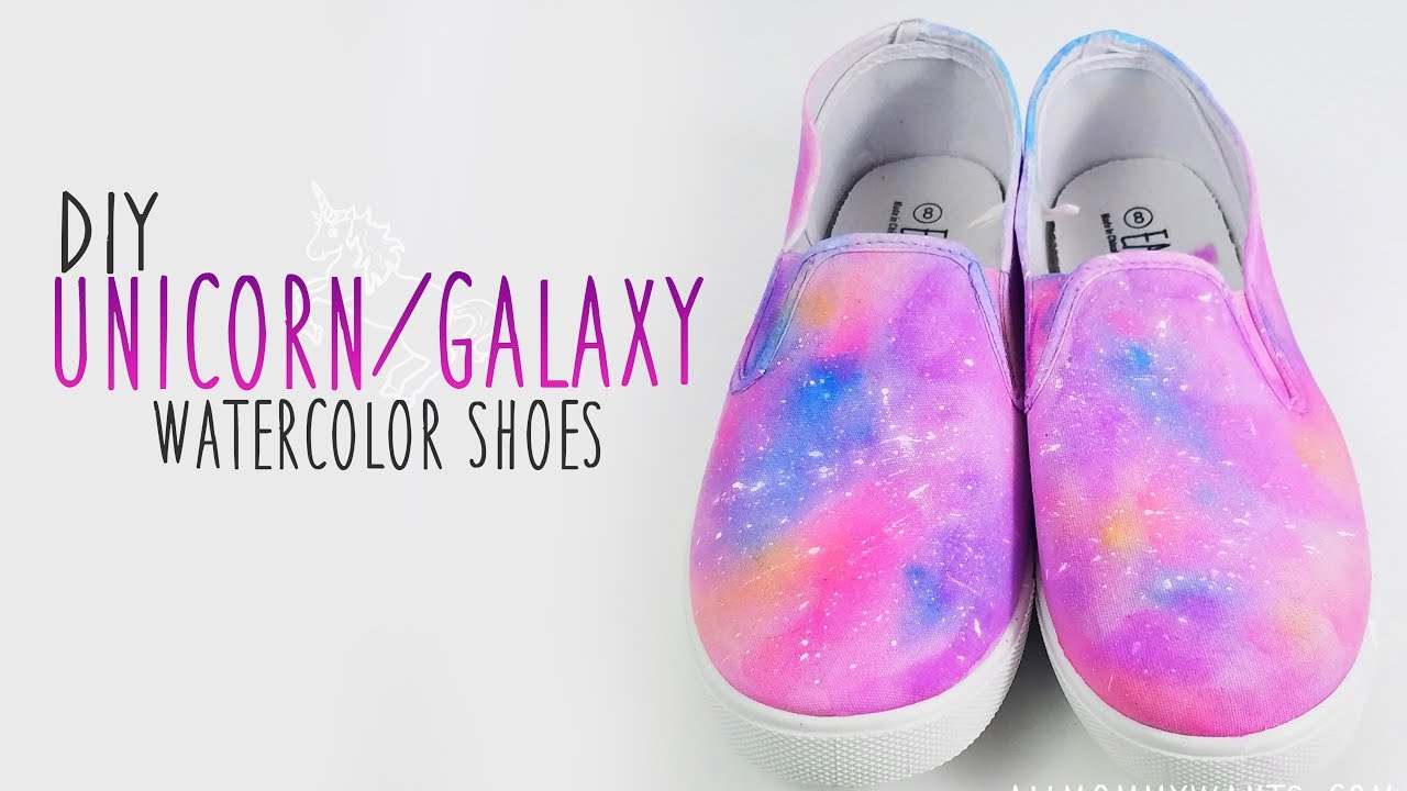 dbf786034bc3 DIY  Unicorn Galaxy Watercolor Painted Shoes Sneakers - YouTube