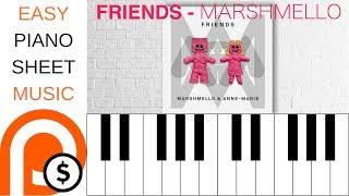 FRIENDS - MARSHMELLO & ANNE-MARIE | EASY PIANO SHEET MUSIC | PATREON REWARD