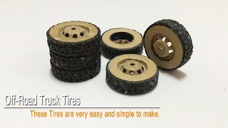 How to Make RC Homemade Off Road Heavy Duty Commercial Truck Tires from Cardboard Handmade