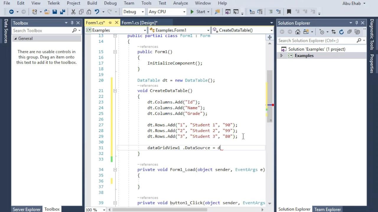 DataTable in c#