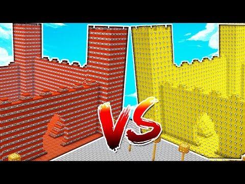 CASTILLO DE TNT VS CASTILLO DE LUCKY BLOCKS 💥😱 MINECRAFT MAPA CONSTRUCCIONES CON YOUTUBERS