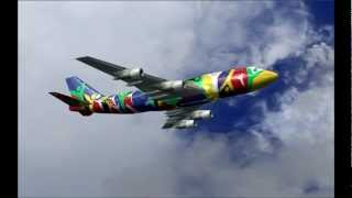 FS2004 Boeing 747-300 South African Ndizani Landing in Galeao-Antonio C Jobim Intl