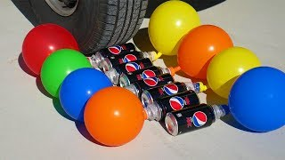 CAR VS COCA-COLA WITH BALLOONS - CRUSHING CRUNCHY & SOFT THINGS EXPERIMENT
