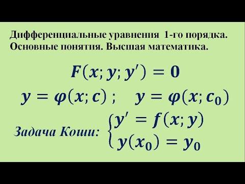 Дифференциальные уравнения 1-го порядка. Основные понятия. Высшая математика.