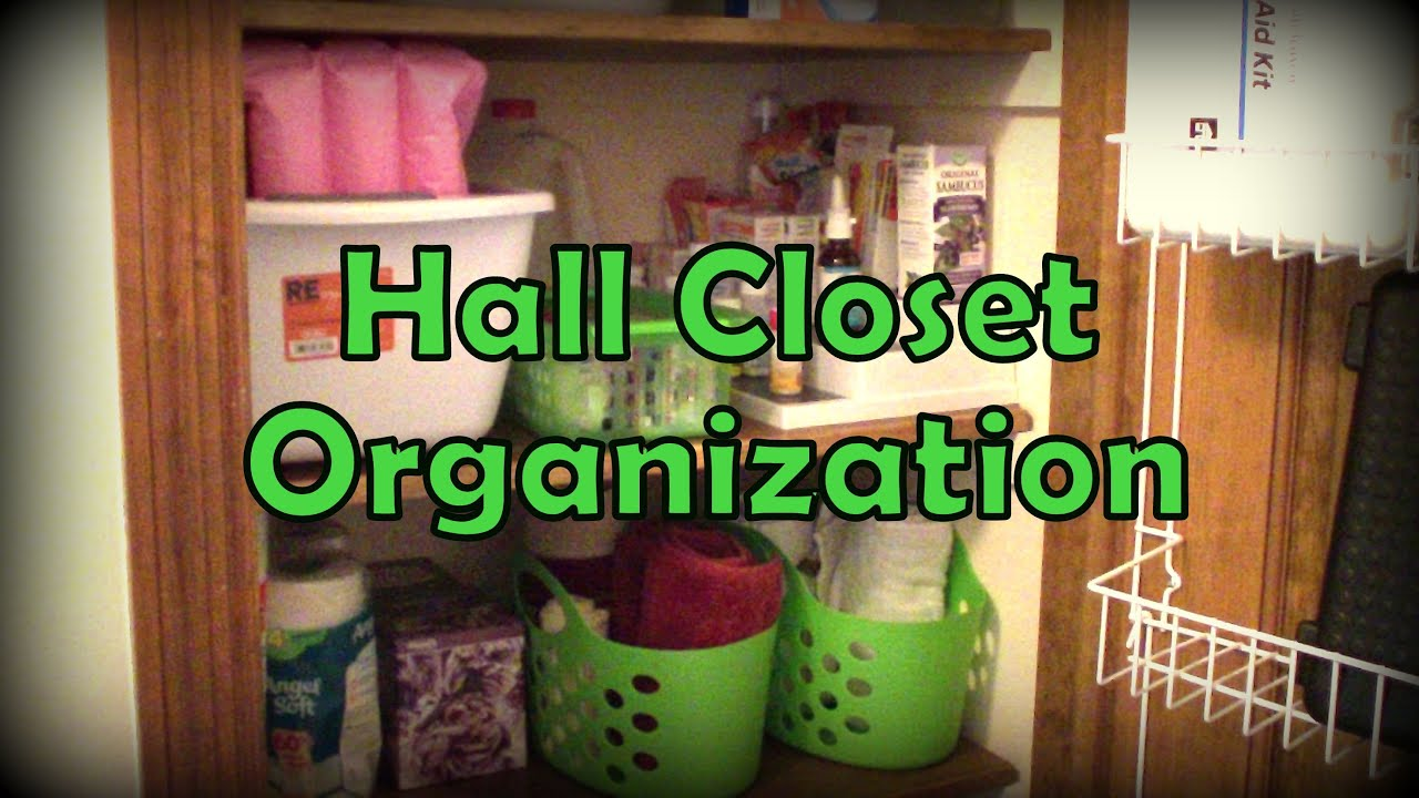 Organization hall closet using dollar tree items for A bathroom item that starts with n
