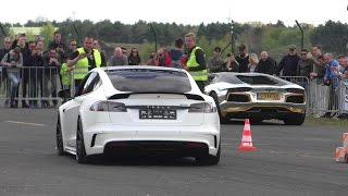 DRAG RACE | Tesla MODEL S P100D vs. Prior Audi R8 & Lamborghini Aventador LP700-4