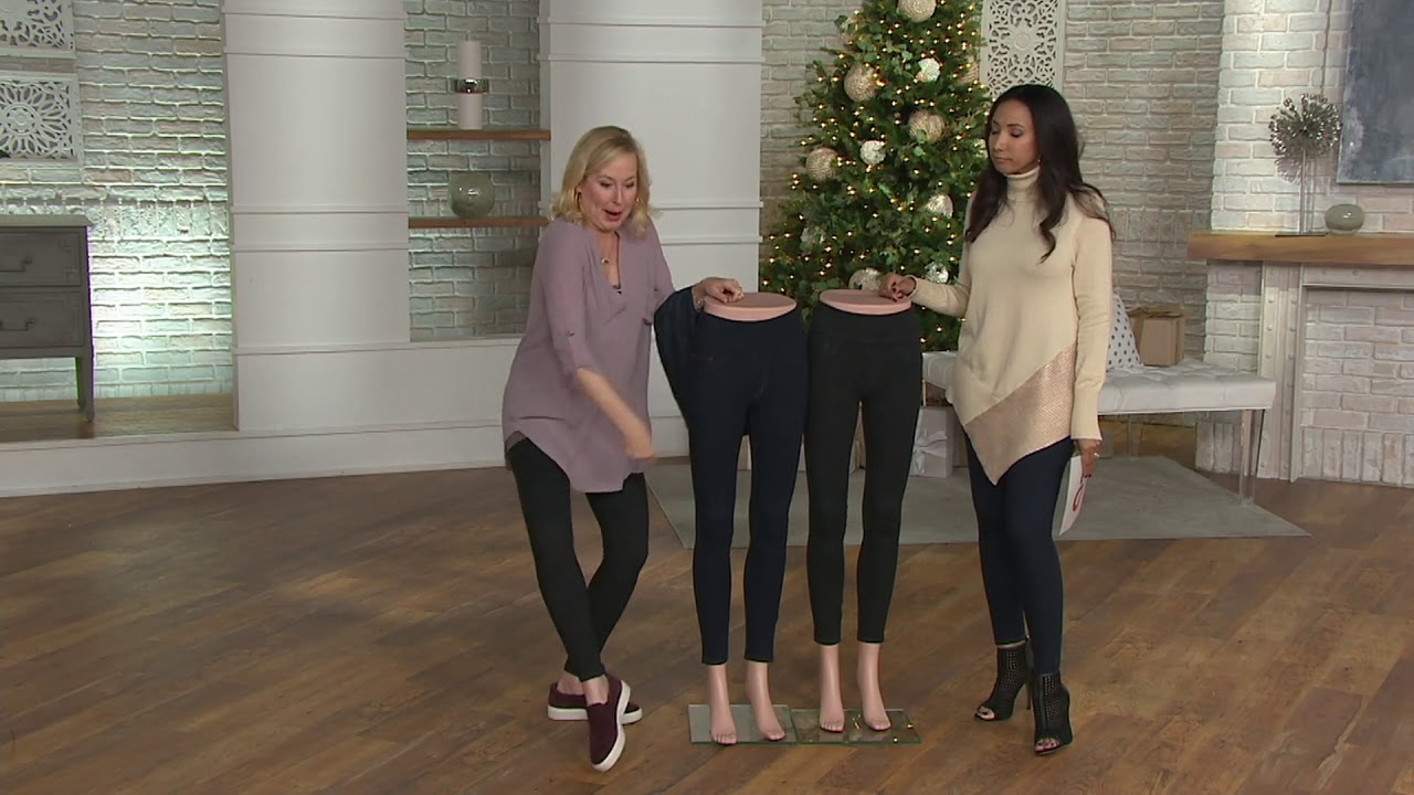 f8290929da Spanx Jean-Look Ankle Length Leggings on QVC - YouTube