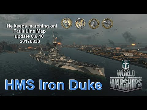 World of Warships - HMS Iron Duke - 142k Damage, Witherer, Arsonist, Dreadnought, High Caliber