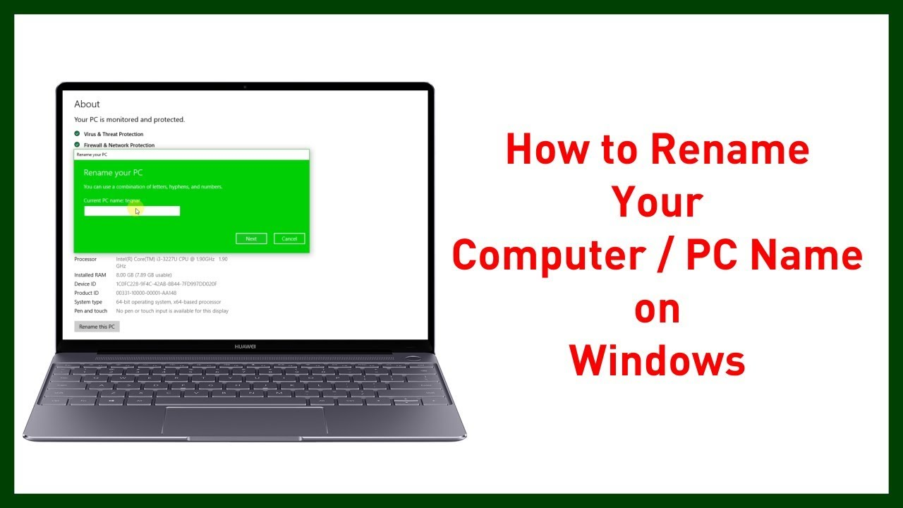 How to change you computer user name / pc name in windows 10 version |  Teqnar Telugu