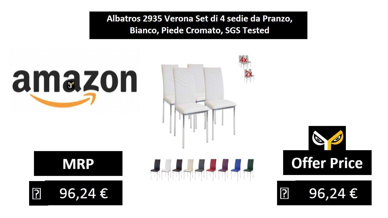 Rosso SGS Tested Albatros 2938 Verona Set di 4 sedie da Pranzo Piede Cromato