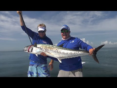 50lb Smoker Kingfish Fishing Off Cape Canaveral Florida - 4K