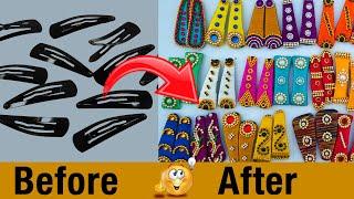 how to make hair clips at home | Kids Easy Hair Accessories Ideas  | Silk Thread | DIY | #108