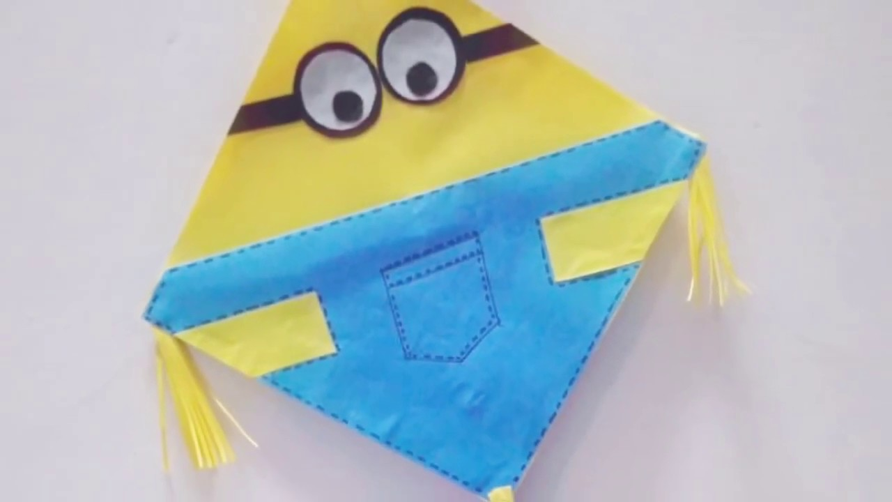 How To Make A Cute Minion Kite Craft Purpose Only Vasantpanchami Lohri Youtube