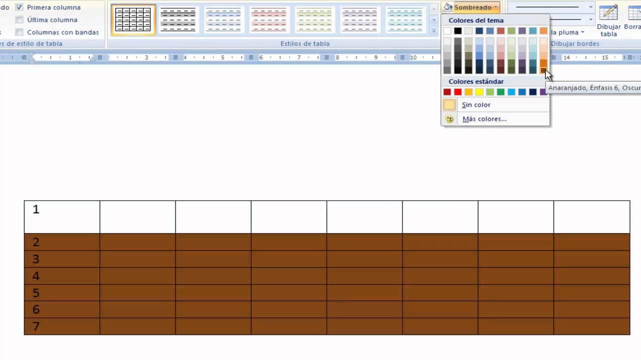 Word pintar los cuadros de las tablas de variedad de - Colores para pintar ...