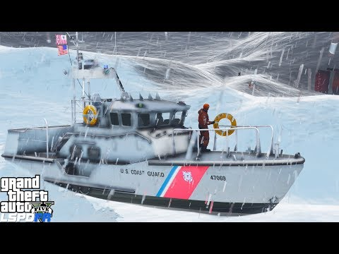 GTA 5 LSPDFR Coastal Callouts | Motor Life Boat Vs Insane Waves | Overturned Tug Boat With 5 Victims
