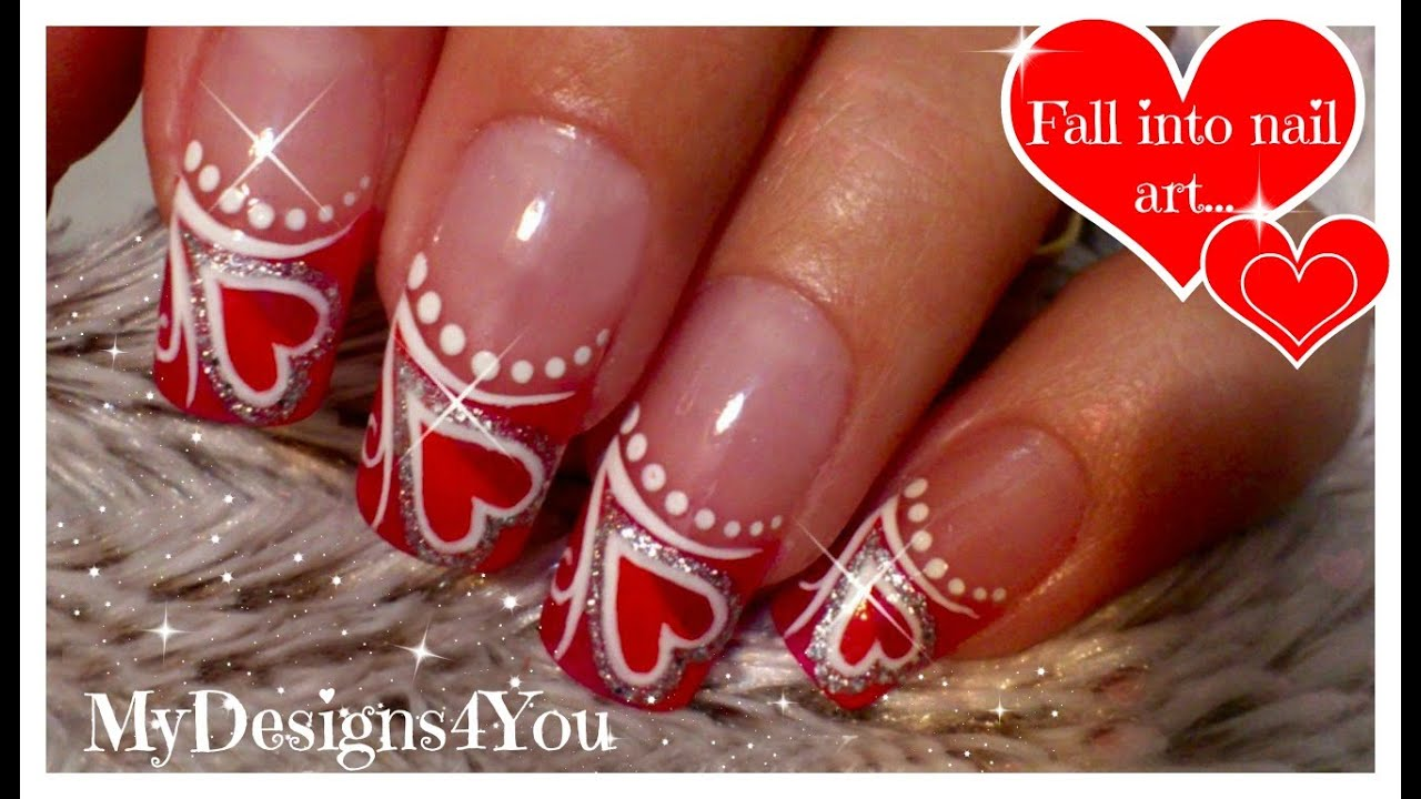 Valentines Day Nails Red Heart Nail Art