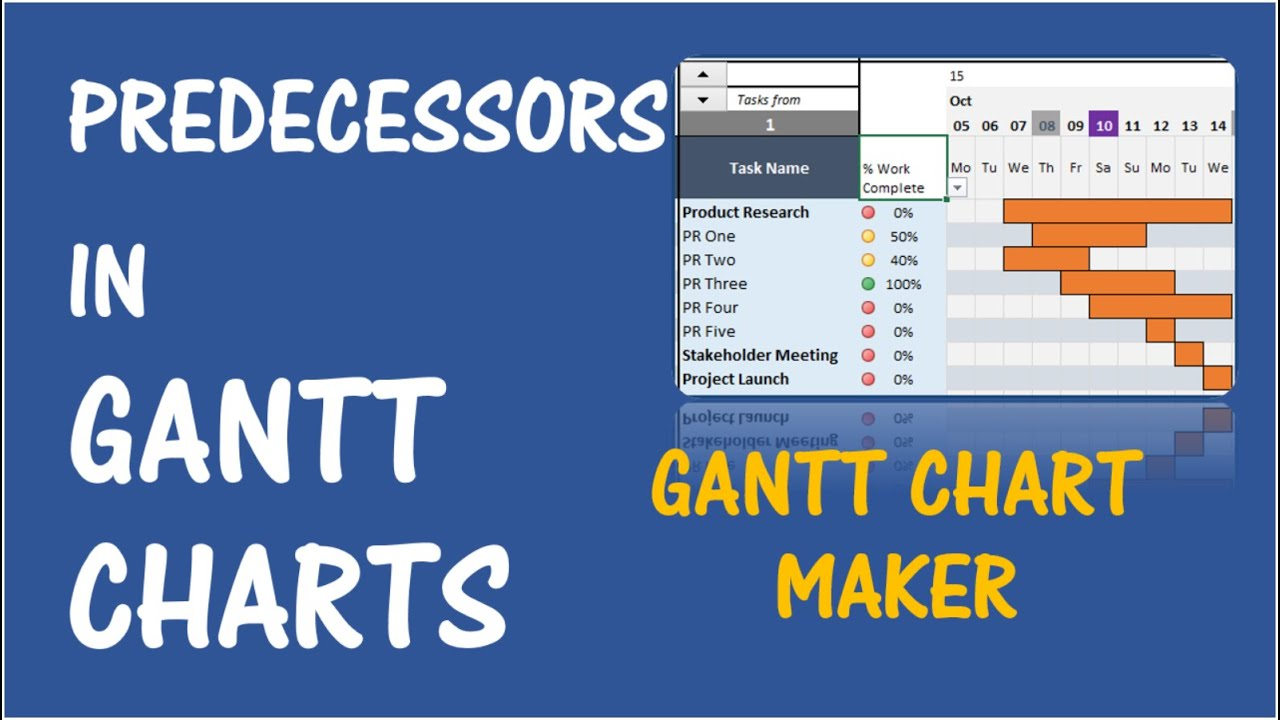 Gantt chart maker excel template v1 predecessors youtube ccuart Image collections