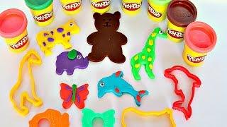 Play Doh. Названия животных, на русском и испанском.  Nombres de los animales en russo.