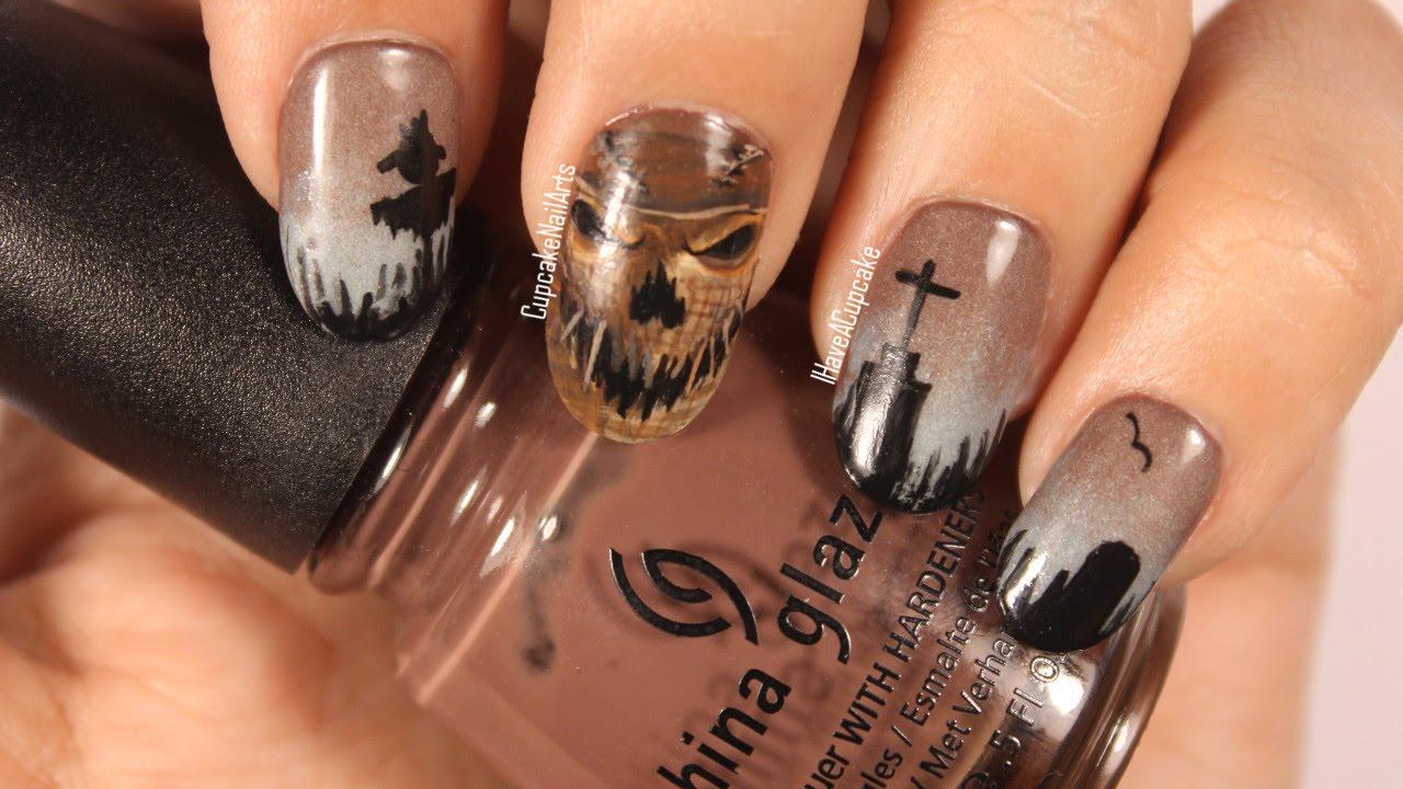 Halloween Nails - Scarecrow Nail Art - YouTube