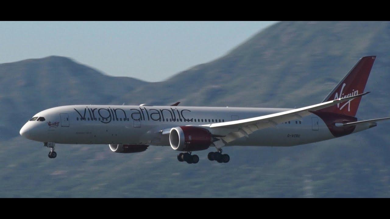 香港國際空港Sky Deck 香港國際機場Virgin Atlantic Airways(Boeing 787-9 )Landing!! RWY25R - YouTube