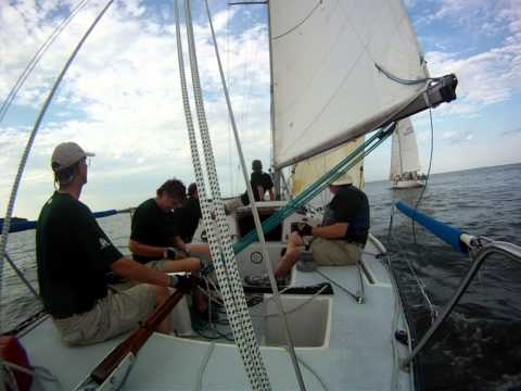 "June 27, 2012 sailboat race on ""Tackless"" , Express 30M out of Galesville MD"