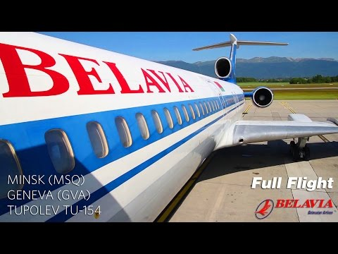 Belavia Tupolev Tu-154 Full Flight: Minsk to Geneva (with AT