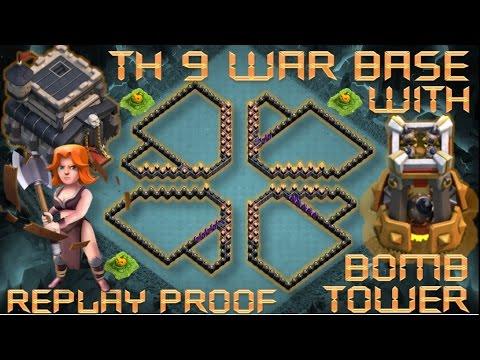 th 9 town hall 9 anti 2 stars war base bomb tower clash of clans youtube - Stars War