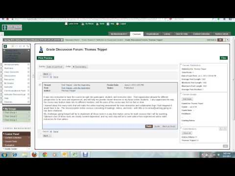 Discussion Forum Grading Instructor View