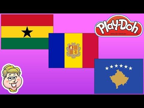 Play-Doh Flags! Ghana, Andorra, and Kosovo!  EWMJ #284