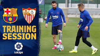 This saturday the team trained for last time before game against sevilla. session, which took place on tito vilanova pitch at ciutat espo...