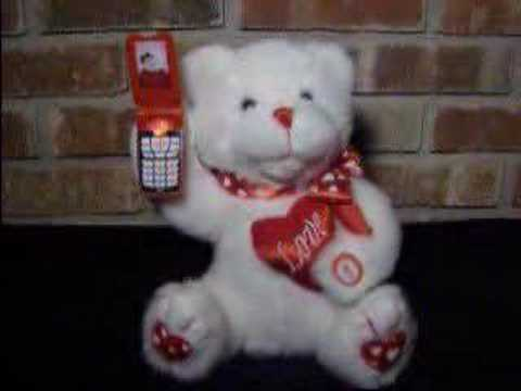 Valentines Day Singing Cell Phone Bear