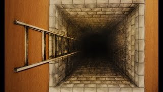 How to draw one point perspective 3d illusion pit hole with ladder