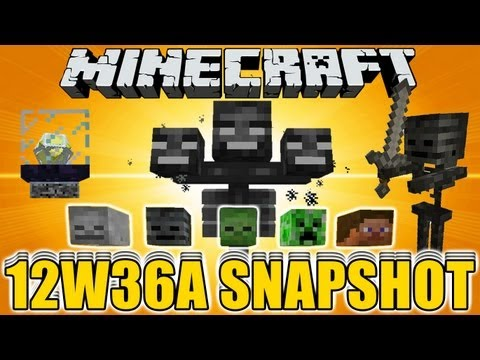 Minecraft 12W36A UPDATE SNAPSHOT WITHER BOSS / SKELETON , NETHER STAR , MOB HEAD BLOCK