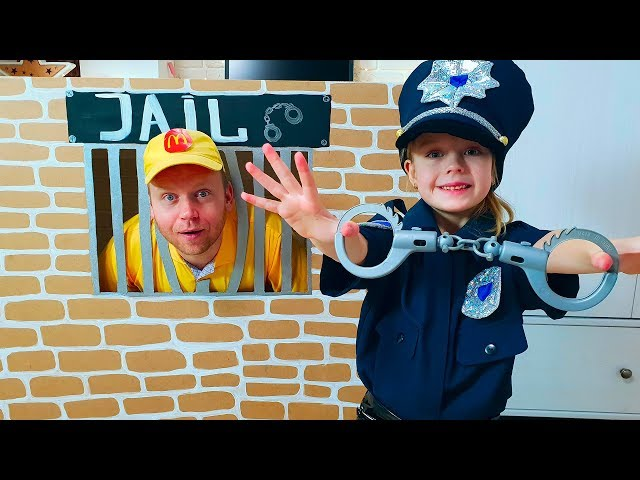 Margo playing as Cop LOCKED UP Nastya in Jail Playhouse Toy for Kids
