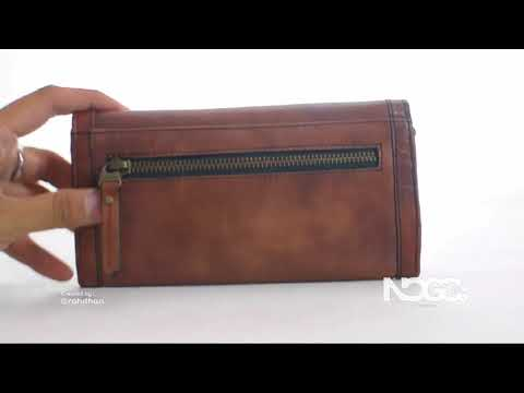 RD63-295 Fossil Long Live Vintage - Classic Envelope Buyut Wallet in Champagne Brown