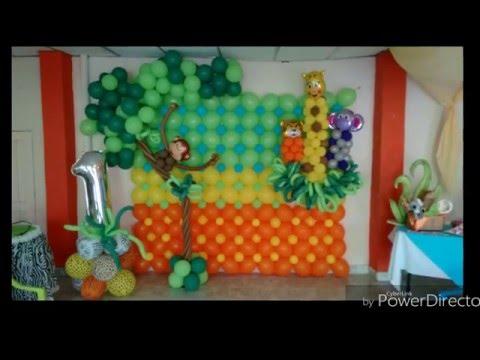 Decoración con globos  (Fiesta infantil safari)